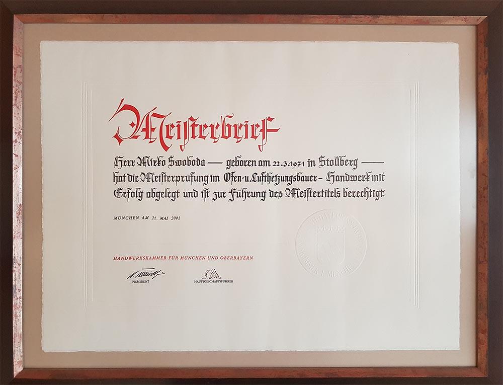 Meisterbrief von Mirko Swoboda als Ofenbauer